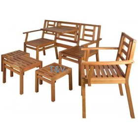 Houten chitchat 5 delig tuinset